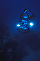 Deep Worker Submersible diving on a deep reef.