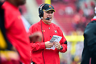 College Park, MD - OCT 1, 2016: Maryland Terrapins head coach DJ Durkin on the sideline during game between Maryland and Purdue at Capital One Field at Maryland Stadium in College Park, MD. The Terps got the win 50-7 over visiting Purdue. (Photo by Phil Peters/Media Images International)