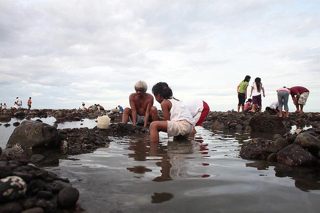 People dig for clams and snails at low tide as the sun goes down in the town of Dumaguete, Negros island, Philippines. June 16, 2011.