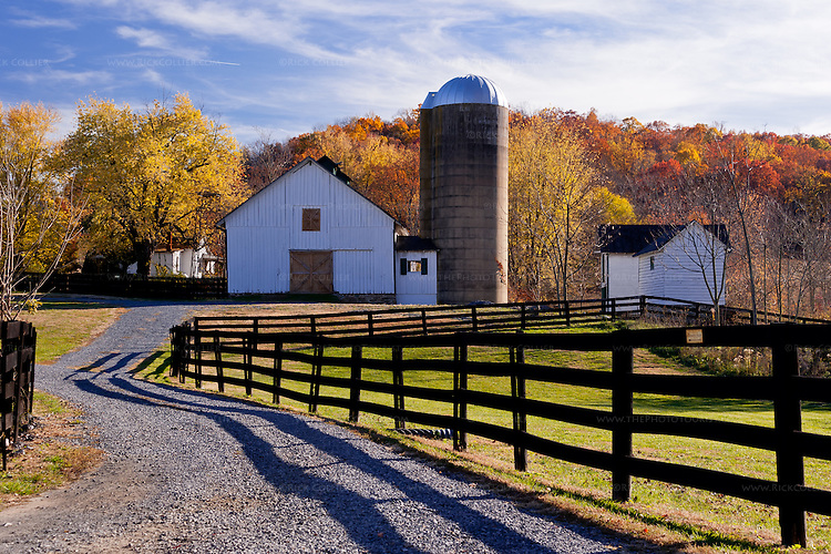 The driveway entrance to Aspen Dale extends beyond the winery, past neat fences to the farm buildings beyond.