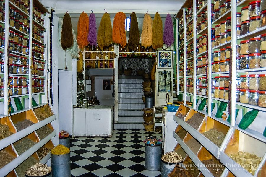 Morocco, Marrakesh. Spices and medicine store in the medina.