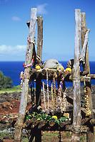 Offerings at Pu'u O Mahuka heiau in Pupukea, on O'ahu's North Shore.