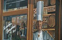 Europe/France/Rhône-Alpes/69/Rhône/Lyon: La fresque des lyonnais rue de la Martinière - Gastronomie lyonnaise - Poissons d'eau douce des étangs de la Bresse [Non destiné à un usage publicitaire - Not intended for an advertising use] [Non destiné à un usage publicitaire - Not intended for an advertising use]