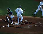 Ole Miss' Auston Bousfield (9) vs. North Carolina-Wilmington's  at Oxford-University Stadium in Oxford, Miss. on Saturday, February 25, 2012. Ole Miss won 6-4.