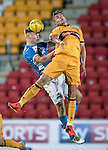 St Johnstone U20 v Motherwell U20&hellip;03.10.16.. McDiarmid Park   SPFL Development League<br />Jason Kerr heads clear from Jacob Blyth<br />Picture by Graeme Hart.<br />Copyright Perthshire Picture Agency<br />Tel: 01738 623350  Mobile: 07990 594431
