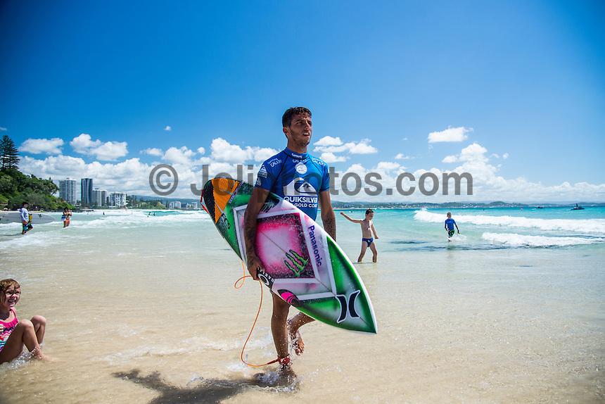 Snapper Rocks, COOLANGATTA, Queensland/Australia (Thursday, March 12, 2015) Filipe Toledo (BRA).- Competition at the Quiksilver Pro Gold Coast continued running through Rounds 3,4 and 5 today at Snapper Rocks. The world&rsquo;s best surfers battled through tough conditions to avoid elimination and earn a place in the Quarter Finals. There were a number of upsets through the day with Top Seeds, John John Florence (HAW), Kelly Slater (USA) and Joel Parkinson (AUS) eliminated from the contest. <br /> -  Photo: joliphotos.com