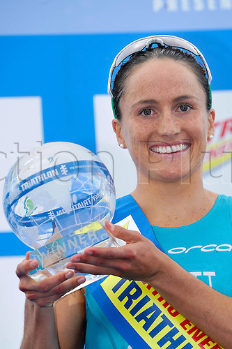 13.09.2010 The ITU Triathlon World Championship Womens Elite category in Budapest. Picture shows Emma Moffatt of Australia with The Trophy.