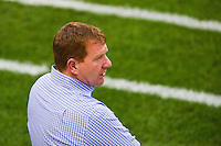 Portland Timbers interim head coach and general manager Gavin Wilkinson. The New York Red Bulls  defeated the Portland Timbers 3-2 during a Major League Soccer (MLS) match at Red Bull Arena in Harrison, NJ, on August 19, 2012.