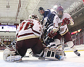 Molly Schaus (BC - 30), ?, Blake Bolden (BC - 10) - The Boston College Eagles and the visiting University of New Hampshire Wildcats played to a scoreless tie in BC's senior game on Saturday, February 19, 2011, at Conte Forum in Chestnut Hill, Massachusetts.