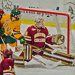 19 February 2016: Boston College Eagle Goaltender Thatcher Demko, a Junior from San Diego, CA, watches one go over the crossbar during the first period against the University of Vermont Catamounts at Gutterson Fieldhouse in Burlington, Vermont. The Eagles defeated the Catamounts 3-1 in the first game of their weekend series. Mandatory Credit: Ed Wolfstein Photo *** RAW (NEF) Image File Available ***