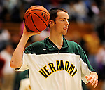 13 February 2011: University of Vermont Catamount forward Clancy Rugg, a Freshman from Burlington, VT, warms up prior to facing the Binghamton University Bearcats at Patrick Gymnasium in Burlington, Vermont. The Catamounts came from behind to defeat the Bearcats 60-51 in their America East matchup. The Cats took part in the National Pink Zone Breast Cancer Awareness Program by wearing special white jerseys with pink trim. The jerseys were auctioned off following the game with proceeds going to the Vermont Cancer Center. Mandatory Credit: Ed Wolfstein Photo
