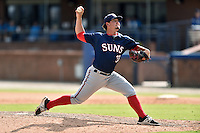 Hagerstown Suns pitcher Tommy Peterson (33) delivers a pitch during a game against the Asheville Tourists at McCormick Field on September 5, 2016 in Asheville, North Carolina. The Suns defeated the Tourists 9-5. (Tony Farlow/Four Seam Images)