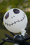 Merrick, New York, USA. October 29, 2016. A spooky, life-size Jack Skellington made of black and white balloons is one of many decoratations at the 2016 annual Merrick Spooktacular hosted in part by the North and Central Merrick Civic Association (NCMCA). The holiday party at Fraser Park was sponsored by the Merrick American Legion Auxiliary Unit 1282.