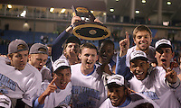 The North Carolina Tar Heels celebrate winning the championship game of the NCAA 2011 Men's College Cup in Hoover, AL on Sunday, December 11, 2011.