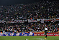 A dejected England goalkeeper Robert Green looks up at England fans. USA tied England 1-1 in the 2010 FIFA World Cup at Royal Bafokeng Stadium in Rustenburg, South Africa on June 12, 2010.