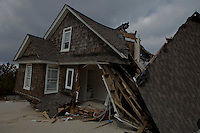 New Jersey, United States. 25th Feb, 2013 -- Remains of a home destroyed almost 4 months ago by Sandy Storm are seen at Jersey Shore in New Jersey. Photo by Kena Betancur / VIEWpress.