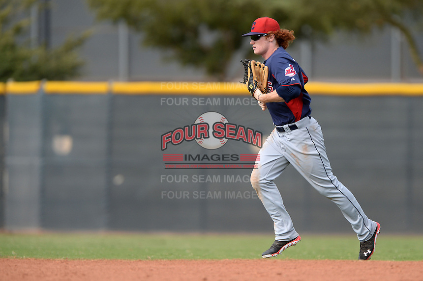 Cleveland Indians outfielder Clint Frazier (17) jogs to the dugout during an Instructional League game against the Kansas City Royals on October 9, 2013 at Surprise Stadium Training Complex in Surprise, Arizona.  (Mike Janes/Four Seam Images)