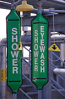 emergency eyewash,shower station at industrial site