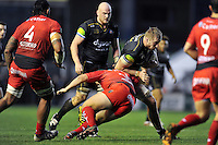 Dominic Day of Bath Rugby takes on the Toulon defence. European Rugby Champions Cup match, between RC Toulon and Bath Rugby on January 10, 2016 at the Stade Mayol in Toulon, France. Photo by: Patrick Khachfe / Onside Images
