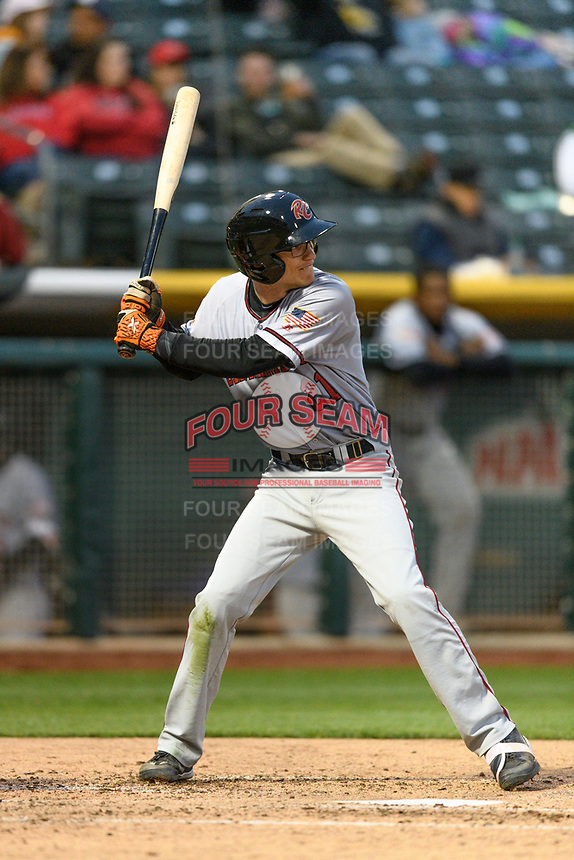 Kelby Tomlinson (21) of the Sacramento River Cats at bat against the Salt Lake Bees in Pacific Coast League action at Smith's Ballpark on April 11, 2017 in Salt Lake City, Utah.  The River Cats defeated the Bees 8-7. (Stephen Smith/Four Seam Images)