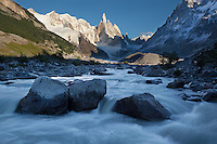 Glacial rivers surge from the base of the melting glaciers of Fitz Roy. El Chalten, Agentina. Patagonia
