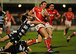 Morgan Stoddart breaks to score the first try.  Scarlets V Bristol, EDF Energy Cup  © Ian Cook IJC Photography iancook@ijcphotography.co.uk www.ijcphotography.co.ukUnholy Alliance Tour 2008,