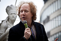 Andy Zaltzman, British comedian and author - 2011<br /> <br /> London, 12/11/2011. The Lord Mayors Show seen through the gaze of Occupy LSX. The annual conventional parade ended with the 684th newly elected Lord Mayor of London, David Wootton, waving to the crowds from his golden carriage. In parallel, the NOT the Lord Mayors Show was launched with Rt Reverend Michael Colclough (Canon in Residence from St Paul's Cathedral) blessing the Occupy LSX camp and its occupants. The festival continued with performances from actors, comedians, musicians, poets, writers, activists, politicians and campaigners showing their support for the occupation. The guests, amongst others, included: Andy Zaltzman (British comedian and author, largely focused on political material), Dean Atta (Writer), Josie Long (English comedian), Chris T-T (English alt-folk singer and songwriter), Deanna Rodger (Uk Slam Champion), Beans on Toast (Singer and songwriter), Javier, The Clouded Silver and the Occupation Band (Music Band), John McDonnell (MP).