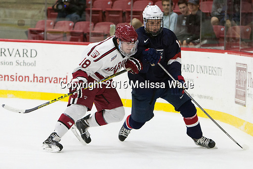 Adam Fox (Harvard - 18), Grant Mismash (NTDP - 16) - The Harvard University Crimson defeated the US National Team Development Program's Under-18 team 5-2 on Saturday, October 8, 2016, at the Bright-Landry Hockey Center in Boston, Massachusetts.