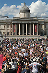 Slut Walk London UK . June 11 2011. Trafalgar Square National Gallery background