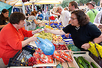 Woman selling fresh fruit at weekly street market in Panzano-in-Chianti, Tuscany, Italy