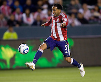 Chivas USA forward Maykel Galindo flying with the ball. The Colorado Rapids defeated the Chivas USA 1-0 at Home Depot Center stadium in Carson, California on Friday evening March 26, 2010.  .