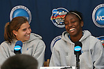 2 December 2006: North Carolina's Tobin Heath (98) and Robyn Gayle (CAN) (11). The University of North Carolina Tarheels held a press conference at SAS Stadium in Cary, North Carolina one day before playing in the NCAA Division I Women's College Cup championship game.