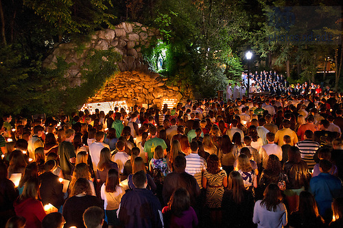 May 17, 2012; Seniors gather in front of the Grotto for their last visit before the 2012 Commencement. Photo by Barbara Johnston/University of Notre Dame
