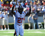 Jacksonville State flanker LaRay Williams (21) celebrates a teammates touchdown at Vaught-Hemingway Stadium in Oxford, Miss. on Saturday, September 4, 2010. Jacksonville State won 49-48 in double overtime.