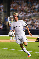 Fabio Coentrao (15) of Real Madrid. Real Madrid defeated A. C. Milan 5-1 during a 2012 Herbalife World Football Challenge match at Yankee Stadium in New York, NY, on August 8, 2012.