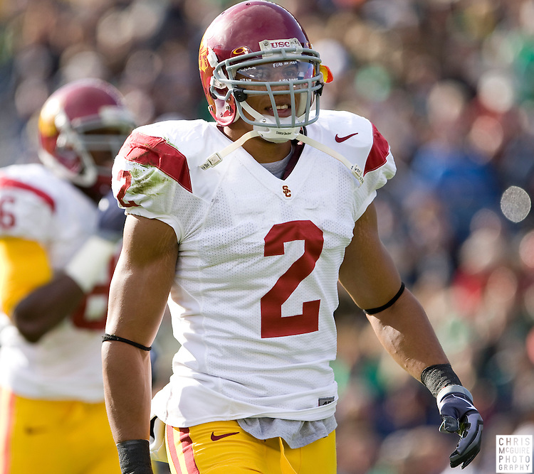 10/17/09 - South Bend, IN:  USC safety Taylor Mays during the first quarter at Notre Dame Stadium on Saturday.  USC won the game 34-27 to extend its win streak over Notre Dame to 8 games.  Photo by Christopher McGuire.