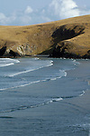 Incoming waves and cliffs, Otago Peninsula, New Zealand