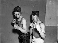 Private T Butler (2nd Battalion) (Corinthians) at National Junior Boxing Championships, Featherweight Winner (on right).18/12/1952