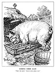 """Goering Ueber Alles. """"What's the matter? Surely we have plenty to eat."""" (Goering as a fat pig eating the European Food Supplies at the Nazi farm)"""
