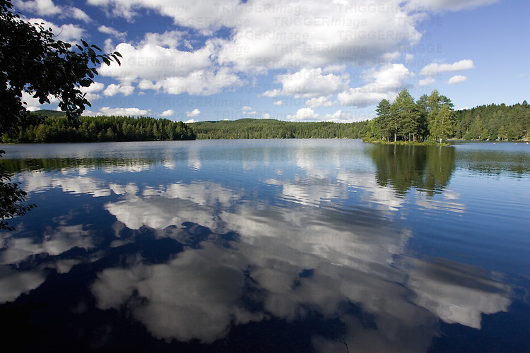 Idyllic image of Sognsvann lake, Oslo, Norway.