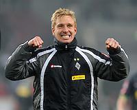 FUSSBALL   1. BUNDESLIGA  SAISON 2011/2012   19. Spieltag   29.01.2012 VfB Stuttgart - Borussia Moenchengladbach    SCHLUSSJUBEL Borussia Moenchengladbach; Torschuetze zum 0-1  Mike Hanke