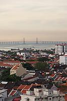 Malaysia, Penang. Penang Bridge seen from George Town.