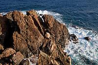 Scenic views and rocky cliffs along the.Tektite trail near Lameshur Bay.St John.US Virgin Islands