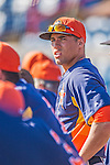 5 March 2013: Houston Astros outfielder George Springer stands in the dugout during a Spring Training game against the Washington Nationals at Space Coast Stadium in Viera, Florida. The Nationals defeated the Astros 7-1 in Grapefruit League play. Mandatory Credit: Ed Wolfstein Photo *** RAW (NEF) Image File Available ***