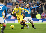 Rangers v St Johnstone&hellip;26.10.16..  Ibrox   SPFL<br />Chris Millar is tackled by Harry Forrester<br />Picture by Graeme Hart.<br />Copyright Perthshire Picture Agency<br />Tel: 01738 623350  Mobile: 07990 594431