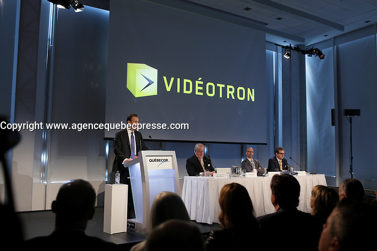 Brian MUlroney and Pierre Dion speak at <br /> Quebecor Annual Meeting, May 12, 2016.<br /> <br /> PHOTO : Pierre Roussel - Agence Quebec Presse