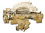 Sepia toned photo collage of the Colosseum in Rome, Italy.