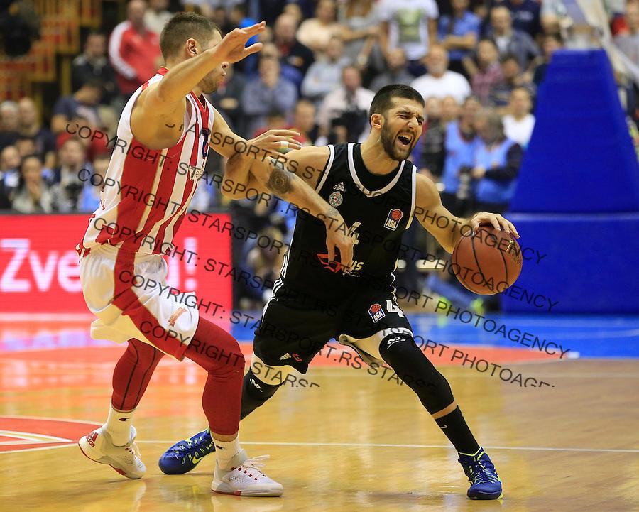 Kosarka ABA League season 2015-2016<br /> Crvena Zvezda v Partizan<br /> Aleksandar Cvetkovic and Stefan Jovic (L)<br /> Beograd, 03.11.2015.<br /> foto: Srdjan Stevanovic/Starsportphoto&copy;