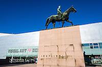 Finland, Helsinki. Statue of Marshal Mannerheim outside Kiasma.