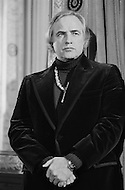 New York City, USA. November 27th, 1974. Marlon Brando during a press conference about the indian cause.